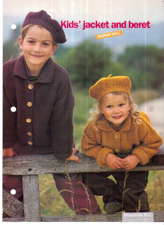 Genuine Vintage 1990s Kids Gorgeous 'Country Style' Moss Stitch Jacket and Beret Set Knitting Pattern