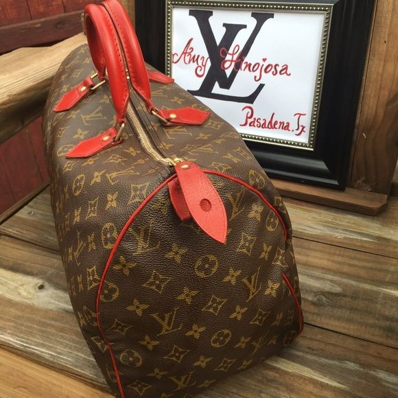 Louis vuitton speedy 40 Dye in red no crack clean inside and outside Louis Vuitton Bags Satchels