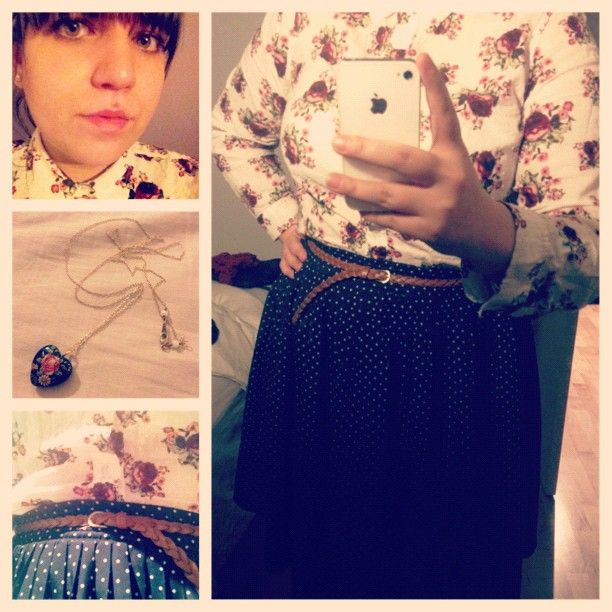 #Vintage #ValueVillage skirt (again), floral @MarksWW blouse, H & M belt, and a New York boutique necklace. #whatiwore #dailyoutfit #ootd