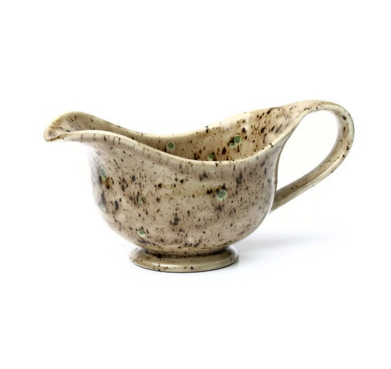 Gravy Boat / Sauce Boat  Tan and Green by miasorellagifts on Etsy, $29.00