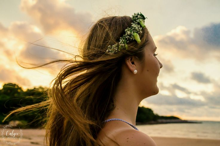 Beautiful beach photoshoot with locally made flower crown