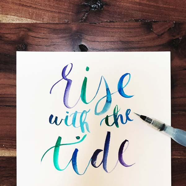 So obsessed with lettering with this Pentel water brush! #risewiththetide #surfquotes #beachquotes #handlettering #pentellettering #pentelbrush #beachliving #coastalliving #coastalquotes #surfart #surfdecor #surfprints