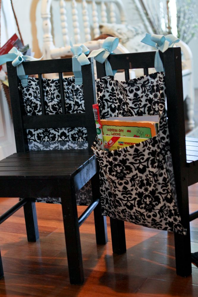 Storage for the back of a chair.: Sewing, Colors Book Storage, Seats Sack, Hunyad Castles, Kids Crafts Storage, Pretty Pillowcases, Coloring, Kids Chairs Organic, Ribbons Attached