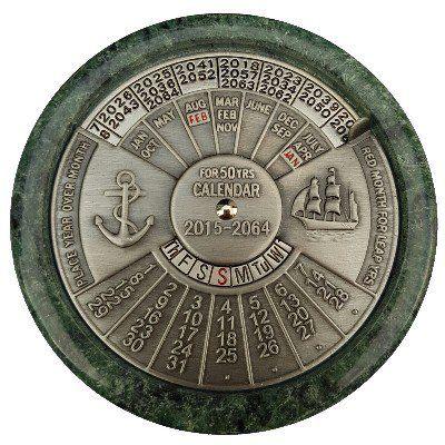 NA 4708 - Calendario Perpetuo - 50 anni - marmo e ottone cromato
