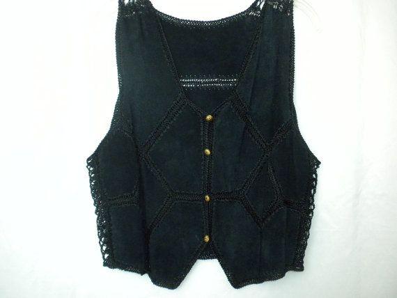 Vintage 90s Black Suede Crochet Patchwork Vest by DJVboutique