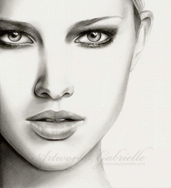 pencil portrait - female faces - drawing faces
