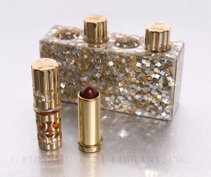 Vintage Golden Grotto lipstick and perfume presentation, Lucien Lelong. A…