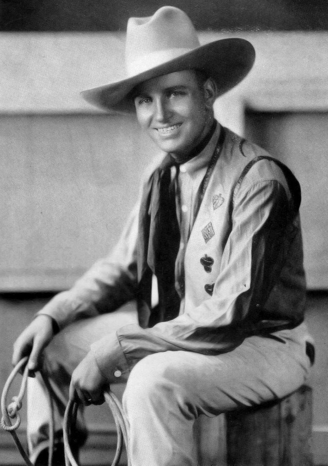"""Happy Belated Birthday to Gene Autry!     Gene Autry was born on September 29, 1907. He joined the cast of the WLS National Barn Dance in 1931. He was billed as Oklahoma's Yodeling Cowboy, and was famous for his song """"That Silver Haired Daddy of Mine."""" Autry soon caught the attention of Hollywood, and went on to become a Saturday matinee idol, making nearly 100 movies, and selling millions of records, He's the only celebrity to have five stars on the Hollywood Walk of Fame."""