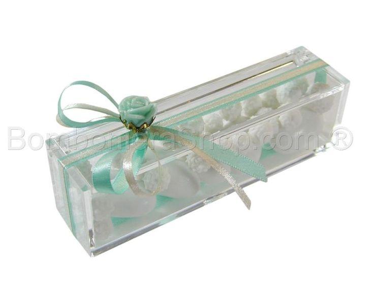 Scatolina plexi portaconfetti confezionata con rosellina tiffany e nastri raso
