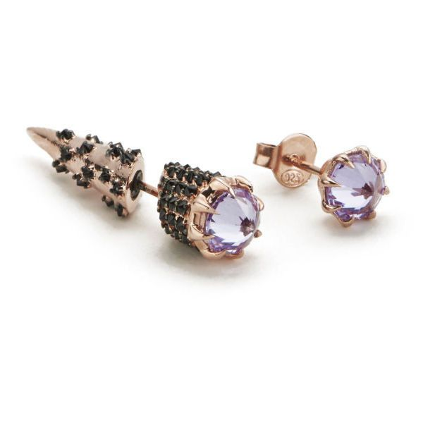 Katie Rowland Women's Mini Stake Earrings - Lavender/18 Carat Rose... found on Polyvore