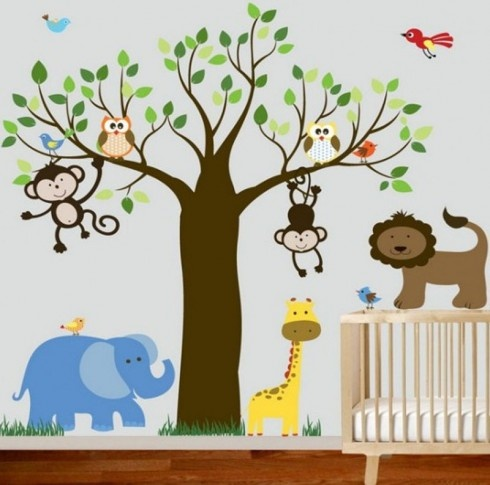 Teen Bedroom, Animal And Tree Theme Wallpaper Wall Ideas For Painting Kids  Rooms Of Baby Rooms With Colorful View And Amusing Picture With Simple Crib  And ... Part 98
