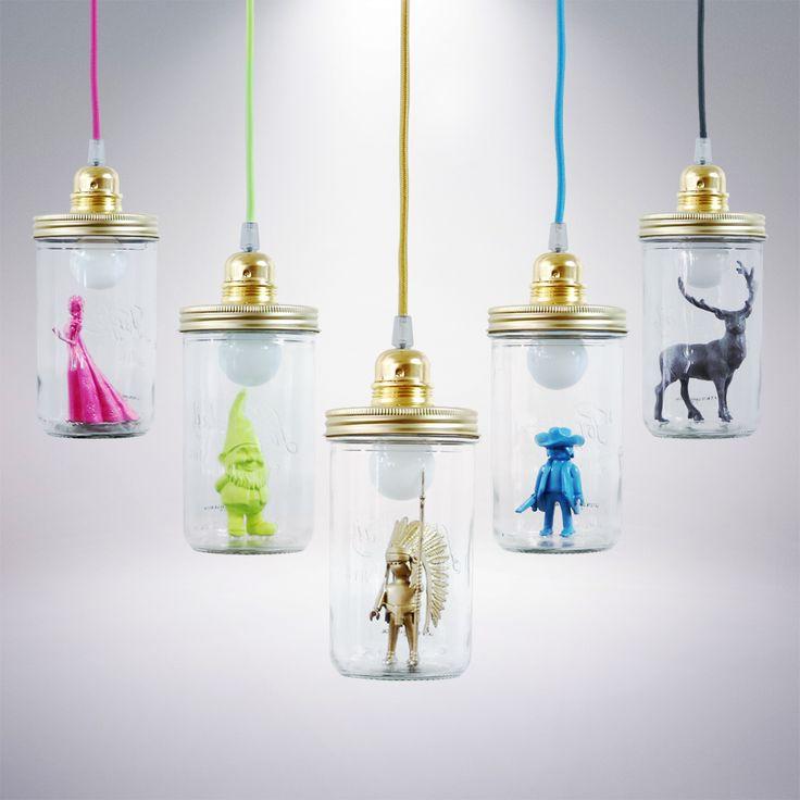 La Tête dans le Bocal NAIN - Lampe à poser/baladeuse Jaune Fluo H17,5cm