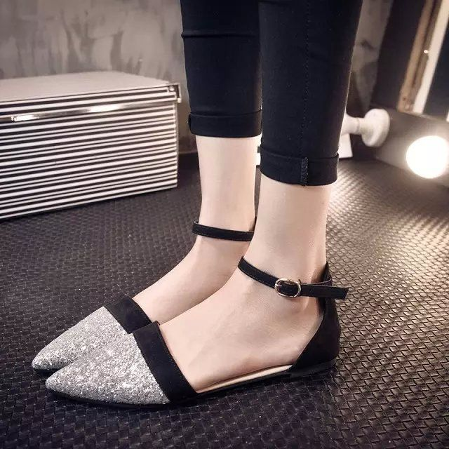 Tendance Chaussures 2017/ 2018 : Buckle Sequins Pointed Toe Mary Jane Flat shoes...