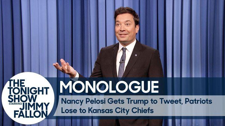 Nancy Pelosi Gets Trump to Tweet, Patriots Lose to Kansas City Chiefs - Monologue - YouTube