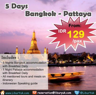 Kini telah ada paket liburan 5 hari Bangkok Pattaya, yuk kita nikmati keindahan dari Kota #Bangkok dan #Pattaya sekaligus!  Dapatkan Special Paket tersebut dari LiburYuk.com di http://liburyuk.com/promotional-package/book/14957857/5D4N-BANGKOK-–-PATTAYA  #abbeytravel #jalan2 #holiday