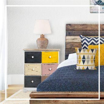 A new urban vintage design using yellow, blue and reclaimed wood. Plus our colorful, distressed #nightstands  #furniture #house #inspiration #blue #yellow#bedroom #palette #color #vintage #wood #reclamed #recycled #camera #arredamento #ispirazione #blu #giallo #pillow #pillows #bed #pallet #idee #cuscini #bancali #online #mobili #retrò #comodini #comodino #arredo #casa