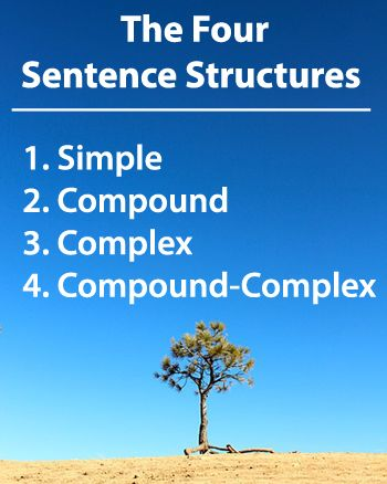 The 4 Sentence Structures: 1. Simple 2. Compound 3. Complex 4. Compound-Complex Learn more --> www.GrammarRevolution.com/sentence-structure.html