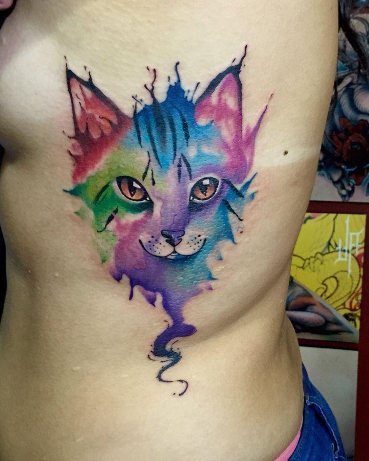 Best 25 cat tatto ideas on pinterest for Watercolor cat tattoo