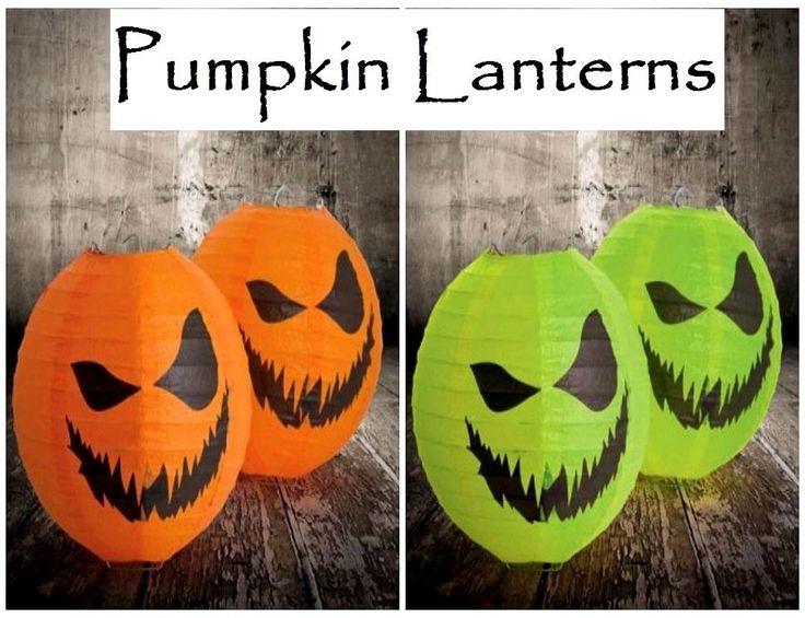 2 Pack Halloween Prop Paper Scary Pumpkin Lantern for Decoration Orange/ Green