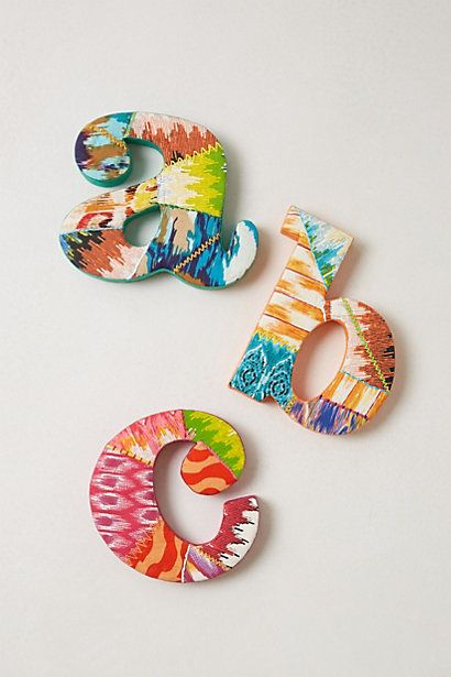 LOVE these! Ikat Monogram Letter #anthropologie-could use'em in playroom or other room!