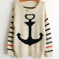 Stripe navy wind restoring ancient ways anchor sweater - Thumbnail 2