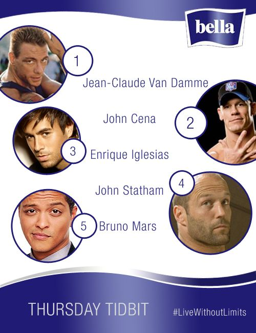 The Big Question  Imagine, if tough guys experienced periods, who do you think would cope best: • Jean-Claude Van Damme  • John Cena • Enrique Iglesias • John Statham • Bruno Mars