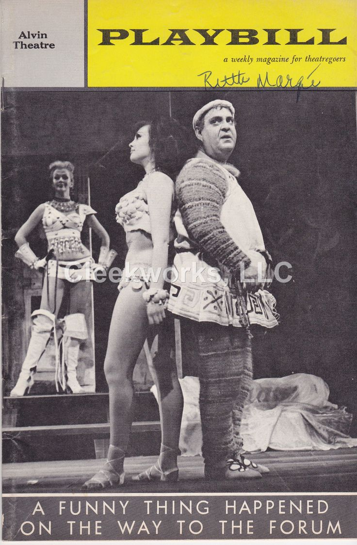Vintage Broadway Playbill - A Funny Thing Happened On the Way to the Forum - 1962 Harold Prince presents at the Alvin Theatre Zero Mostel in a musical comedy based on the plays of Plautus. Music and L