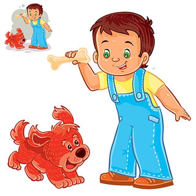 Dog Child Boy Children Happy Bone Holding Fun Play Vector Joy Kid Puppy Friendship Friend Animal Pet Beau Puppy Friendship Cartoon Illustration Icon Collection