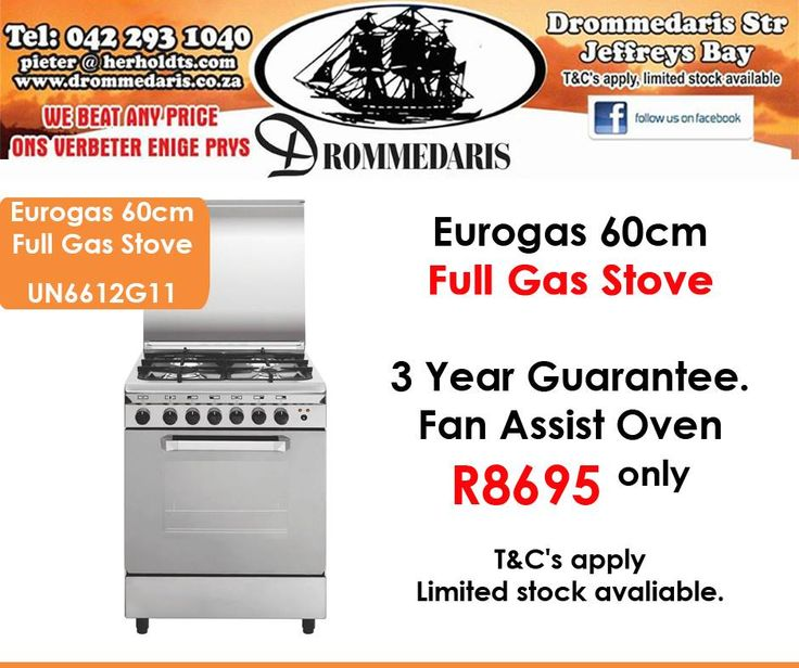 Beat loadshedding with an Eurogas 60cm full gas stove for only R8695 at #Drommedaris. Offer valid while stocks last, E&OE. Click on the link to view all our specials: http://apost.link/32q. #specials #loadshedding #gasstoves