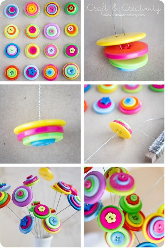 DIY Tutorial: DIY Button Craft / DIY Button flowers - Bead&Cord...... and…
