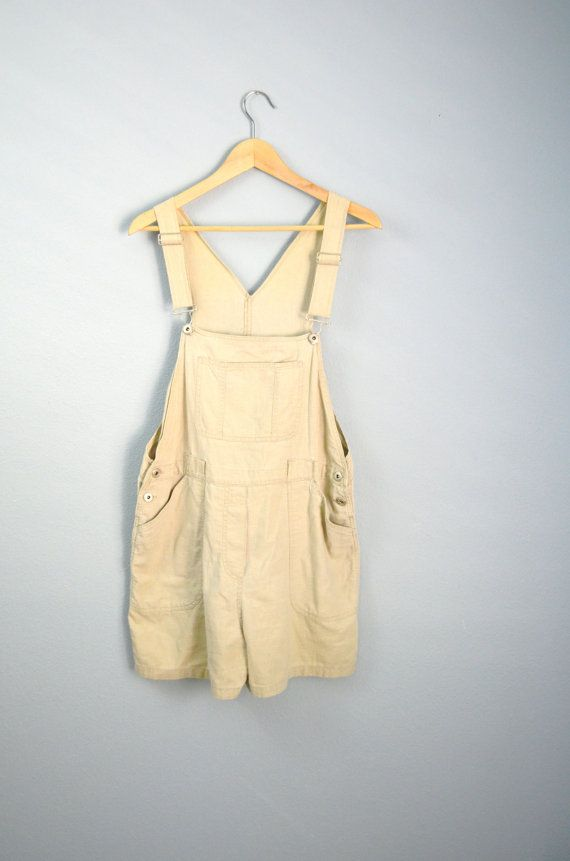 Vintage 90s Tan Linen Short Overalls Shortalls // by PerennialPast, $30.00