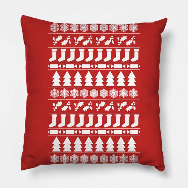 White Christmas pillow by Fimbis     __________________  Xmas, home decor, festive, pattern, interior design, fashion, happy holidays,