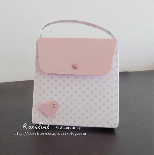 Petit sac à main scrap réalisé avec la planche insta pochette Stampin up. Pour chocolats, dragées. Par Roseline , http://roseline-scrap.over-blog.com