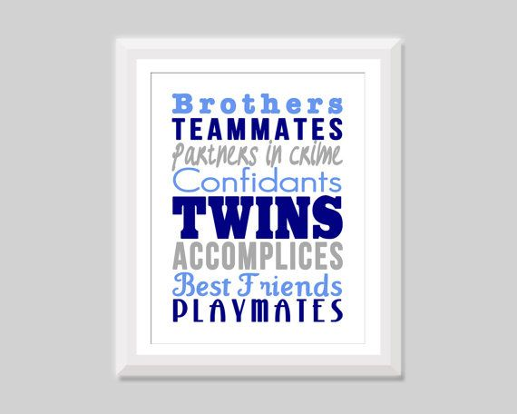Twin brothers print by SweetPapelDesigns - great for a twin boy nursery or room and lists all the fun relationships twin boys share