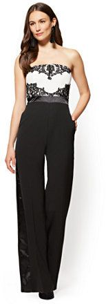 New York & Co. Lace-Overlay Strapless Jumpsuit - Black & White - Petite