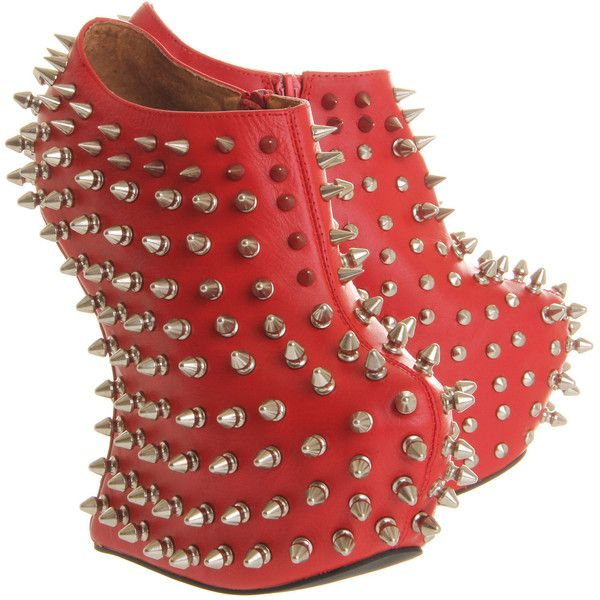 Jeffrey Campbell Shadow Platform Ankle Bt ($61) ❤ liked on Polyvore featuring shoes, heels, red nubuck silver stud, spiked shoes, red studded shoes, red spike shoes, studded platform shoes and rubber sole shoes