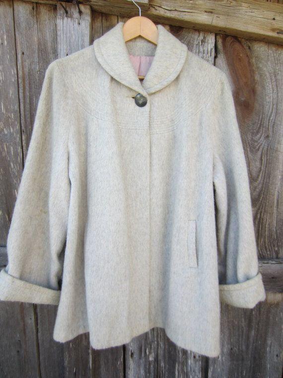 50s/60s Grey Short Wool Swing Coat, M // Vintage Winter Cape // Trapeze Jacket