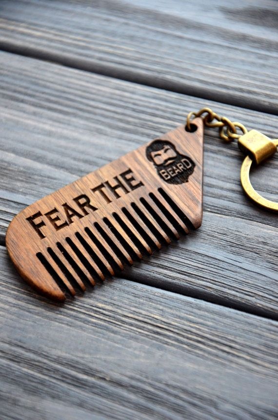 Personalized wooden comb key chain Engraved comb moustache Fear the Beard comb…
