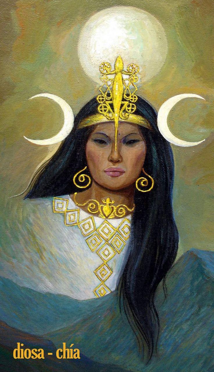 """Chía """"Era también símbolo de los placeres mundanos y se la representaba bajo la forma de mujer. La diosa Chía fue una de las principales divinidades de los Muiscas. Se le rendía el mayor culto en este pueblo, al que los cronistas han llamado la """"ciudad de la luna"""" en razón a que la simbolizaba y estaba consagrado a dicha deidad."""""""