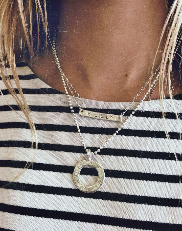 Daniella Draper personalised bar necklace and forever necklace. Valentine's gift ideas! Silver jewellery Www.danielladraper.com