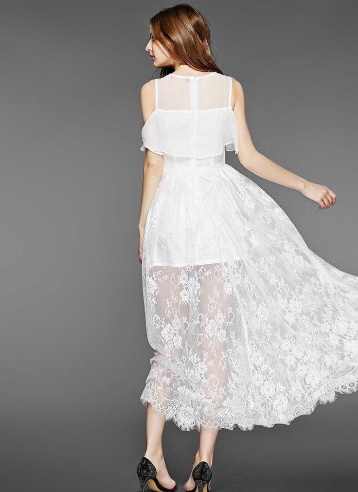 Off-Shoulder White Lace Chiffon Maxi Dress with Scalloped Hem and Eyelash Finishes