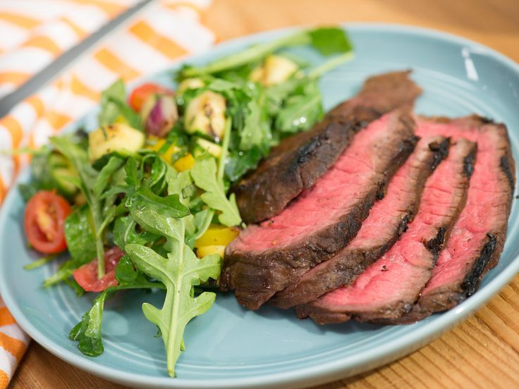 Molasses Grilled London Broil with Chopped Grilled Summer Salad recipe from Jamie Deen via Food Network