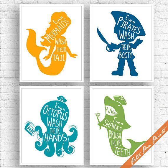 Unisex Kids Funny Bathroom (A) – Set of 4 Art Print (Unframed) (Featured in Sunrise, Deep Sea, Ocean and Green) Boys and Girls Bath Art