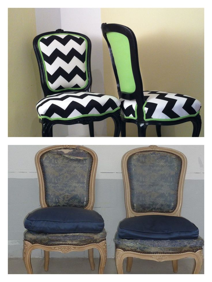 Rocaille style chairs painted black with chevron fabric. Green back coordinated with the double welt cording applied all around the chair.