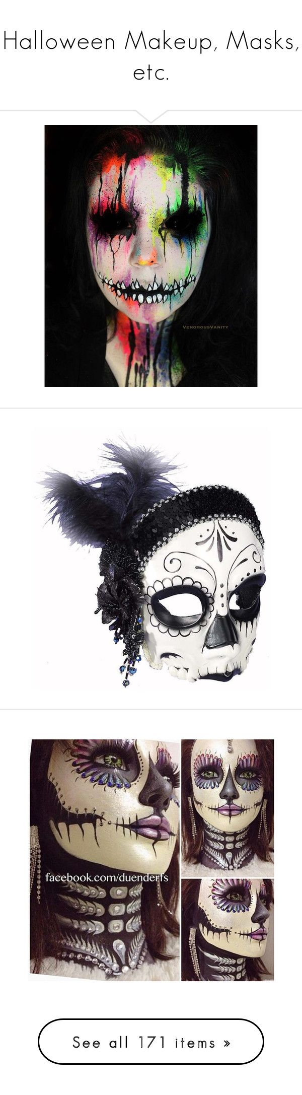 """""""Halloween Makeup, Masks, etc."""" by meranda-joi ❤ liked on Polyvore featuring beauty products, makeup, costumes, halloween, masks, flapper halloween costumes, lady halloween costumes, ladies costumes, womens halloween costumes and womens costumes"""