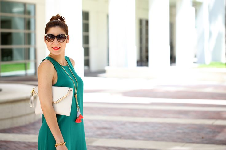 Blame it on Mei Miami Fashion Blogger 2016 Spring Look Summer Outfit Shift Dress Henri Bendel Cream White Debutante Convertible Clutch with Tassel Baublebar Majorca Tassel Necklace Gold Sandals Cat Eye Sunglasses How to style a shift dress with sandals