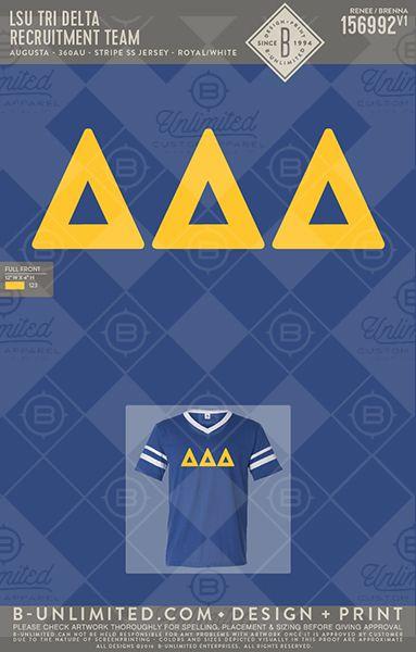 LSU Tri Delta Recruitment Team #BUnlimited #BUonYOU #CustomGreekApparel #GreekTShirts #Fraternity #Sorority #GreekLife #TShirts #Tanks #TShirtIdeas #TriDelta #DeltaDeltaDelta #DDD #GreekLetters #Athletic #Retro #Vintage #Recruitment #LetterShirt #PR #BidDay