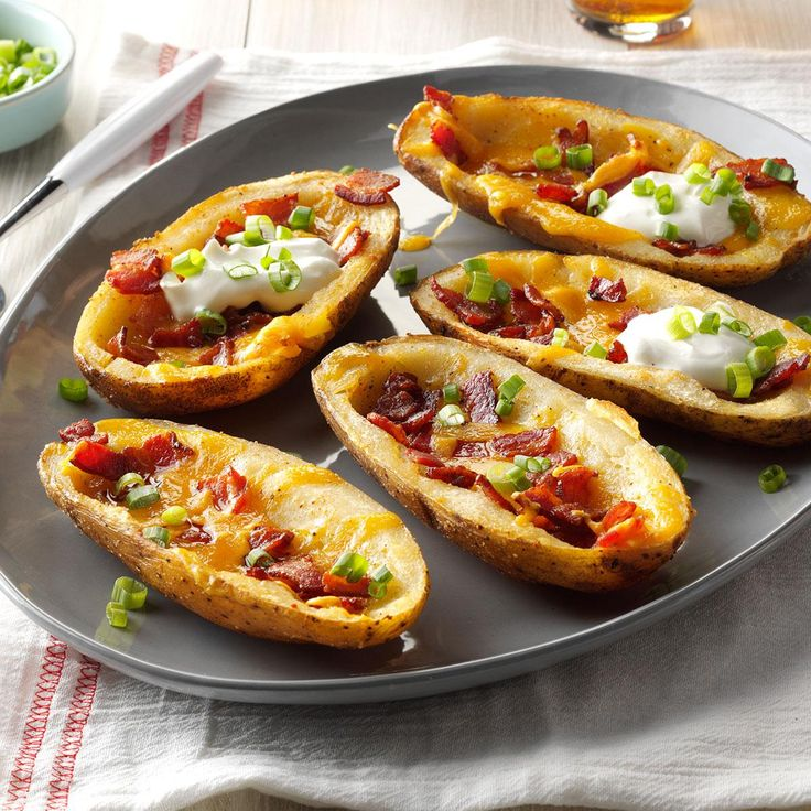"Bacon Cheddar Potato Skins Recipe -""Both crisp and hearty, this snack's one that is often requested by my family,"" says Trish Perrin of Keizer, Oregon."