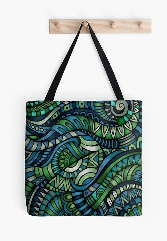 Blue/Green Tote bag/ yoga bag Tattoo wolf beach bag/