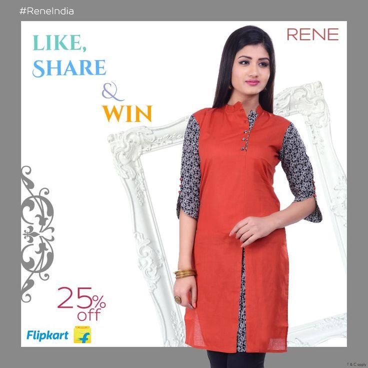 Buy this Rene Red Color Cotton Casual Women's Kurti from Flipkart. #womenswear #reneindia